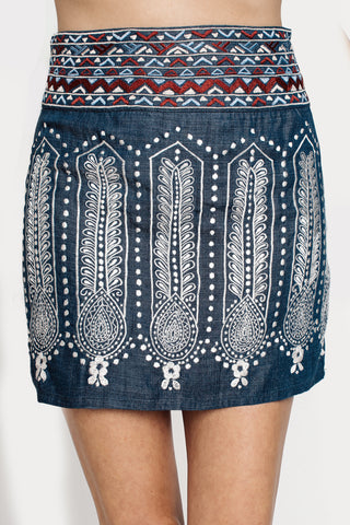 Skirts, Arizona Skirt, RAHI CALI, $50.00, NARIE Clothing, Arizona skirt, blue, boho, chambray, denim, detail, embroidered, embroidered skirt, nari clothing, rahi cali, rahi cali clothing, rahi cali skirt, skirt, skirts, tribal, $50.00, ,
