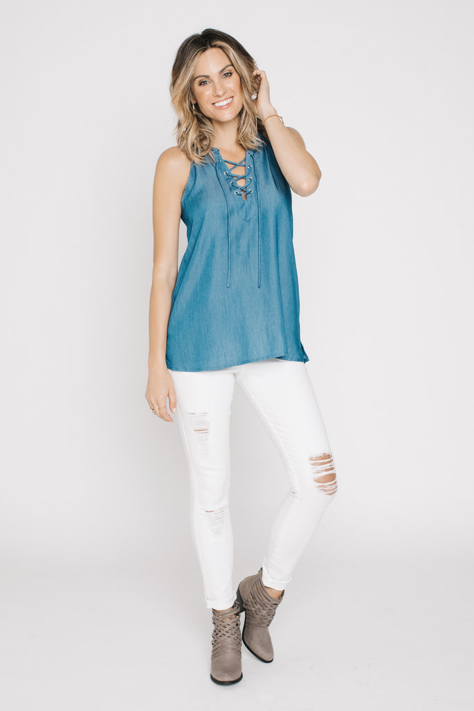 , Braided Lace Up Denim Top, Blush Noir, $60.00, NARIE Clothing, Blue top, Blush Noir, Braided top, Denim top, Lace up top, Sleeveless top, Tank top, $60.00, ,