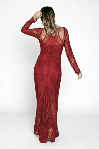Long Dresses, Red Lace Gown, MYSTIC, $125.00, NARIE Clothing, dress, dresses, evening dresses, fitted dresses, lace, long, Long lace dress, Mystic, Narie clothing, overlay, red, see through, special occasion dresses, $125.00, ,