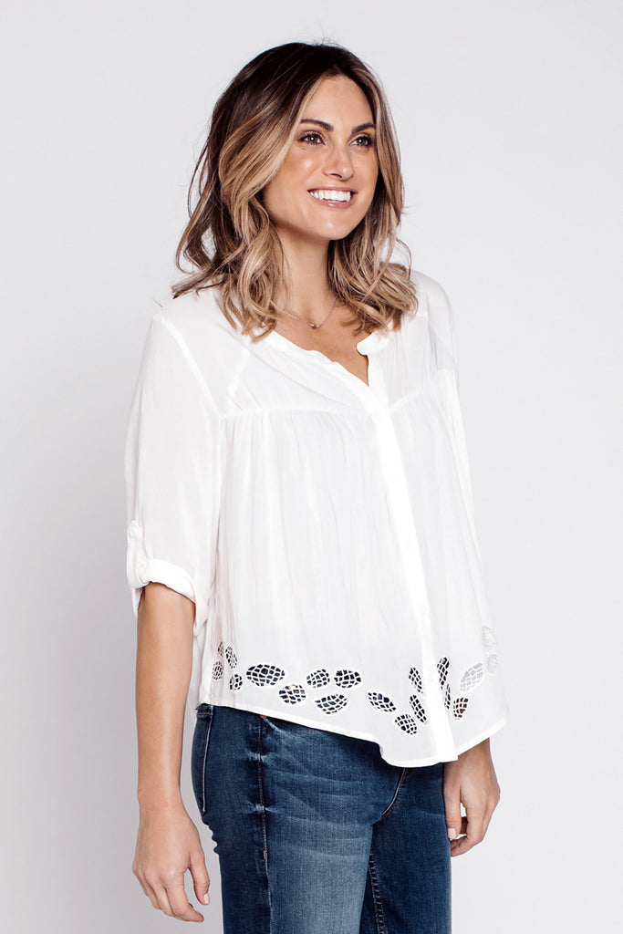 Blouses, Cutout Hem Blouse, Cozy Casual, $50.00, NARIE Clothing, blouse, button, cozy casual, cozy casual clothing, cutout, dress, embroidered blouse, light, long sleeves, Narie clothing, off white, sleeves, tops, white, $50.00, ,