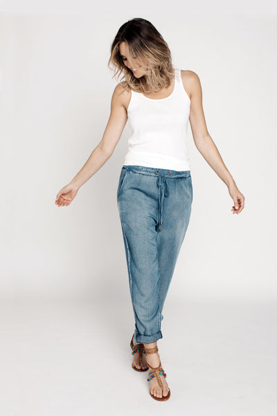 Pants, Chambray Drawstring Pants, Blu Pepper, $30.00, NARIE Clothing, Blu Pepper, bottoms, chambray, denim, denim pants, drawstring, drawstring pants, pants, $30.00, ,