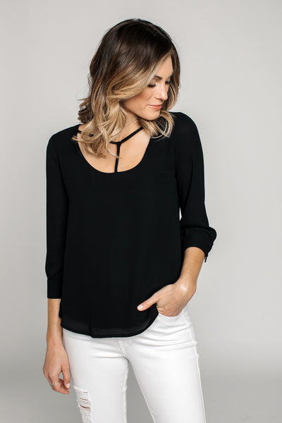 Black Woven Top - NARIE Clothing