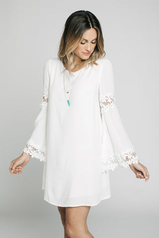 Short Dresses, Lace Applique Bell Sleeve Dress, Blush Noir, $60.00, NARIE Clothing, Bell Sleeve dresses, black, Blush Noir, Lace dress, Long sleeve dresses, peasant dress, Short dresses, white, $60.00, ,