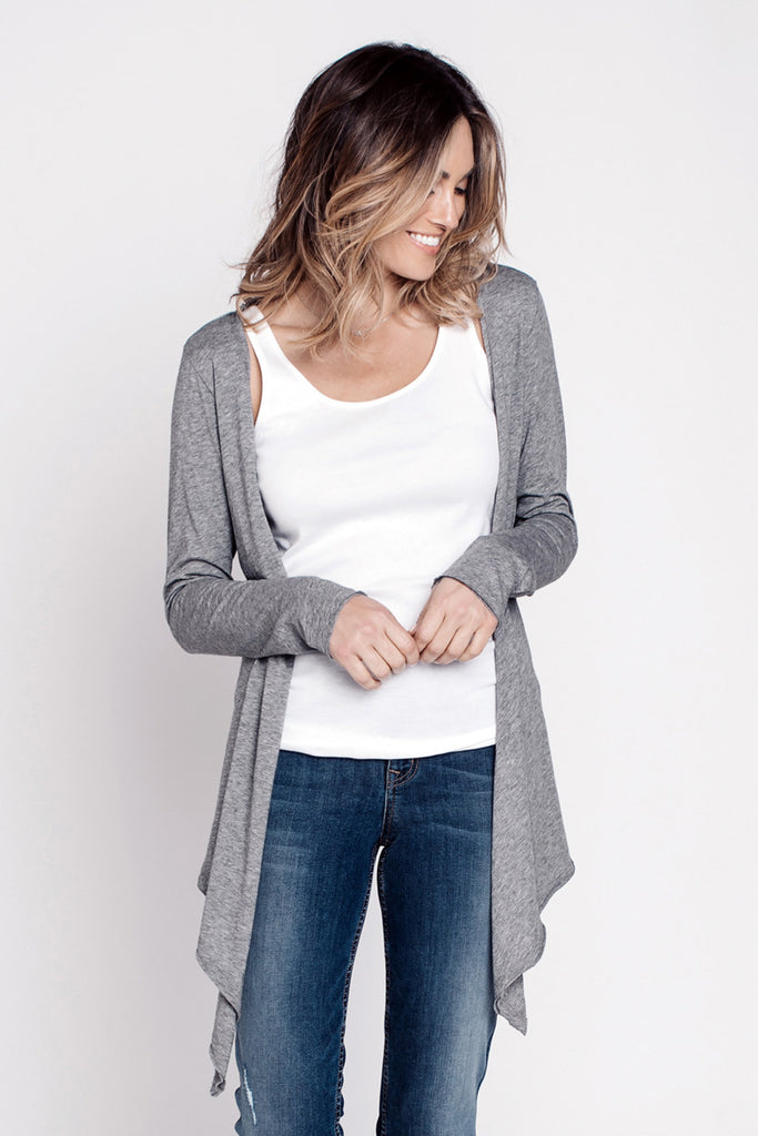 Jackets, Tie Front Tee Cardigan, INDIGENOUS, $70.00, NARIE Clothing, Black, cardigan, grey, Indigenous, outwear, Tee, Tie Front Tee Cardigan, White, $70.00, ,