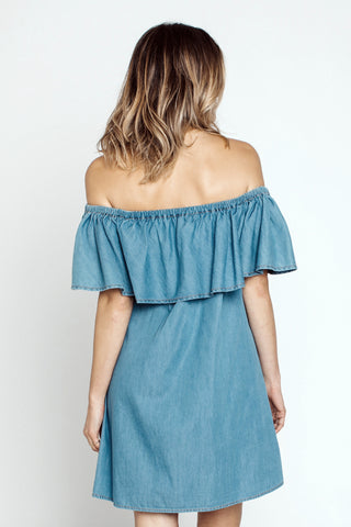 Short Dresses, Ava Dress, Mary & Mo, $81.00, NARIE Clothing, blue dress, chambray blue, dress, Mary & Mo, off the shoulder dress, ruffle dress, strapless dress, $81.00, ,