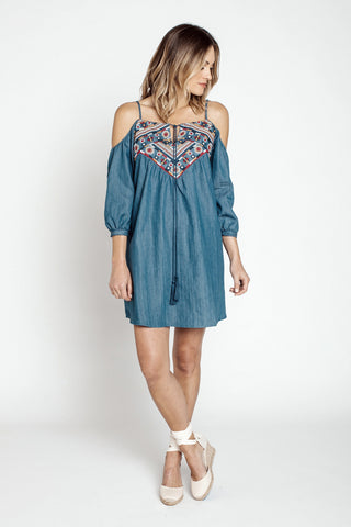 Short Dresses, Cold Shoulder Denim Dress, Blu Pepper, $45.00, NARIE Clothing, Blu Pepper, denim, Denim dress, dresses, embroidered dress, $45.00, ,