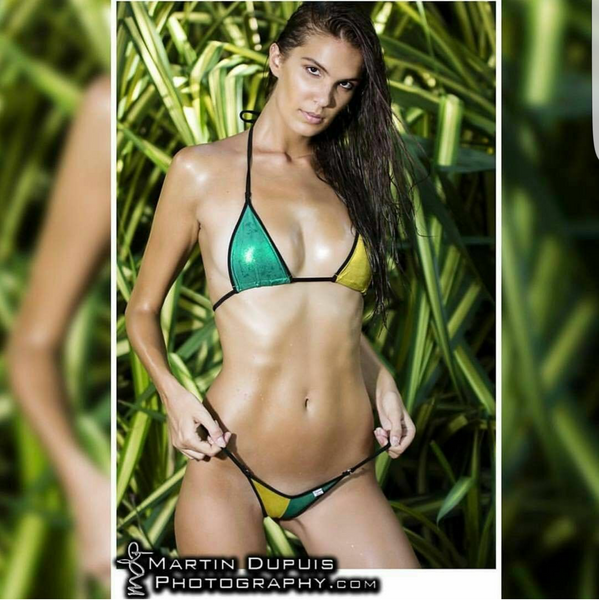 Xposed Skinz Bikinis x105 Gold Green Triangle Back G-string Jamaica Bikini S M L, Swimwear- Xposed Skinz Bikinis