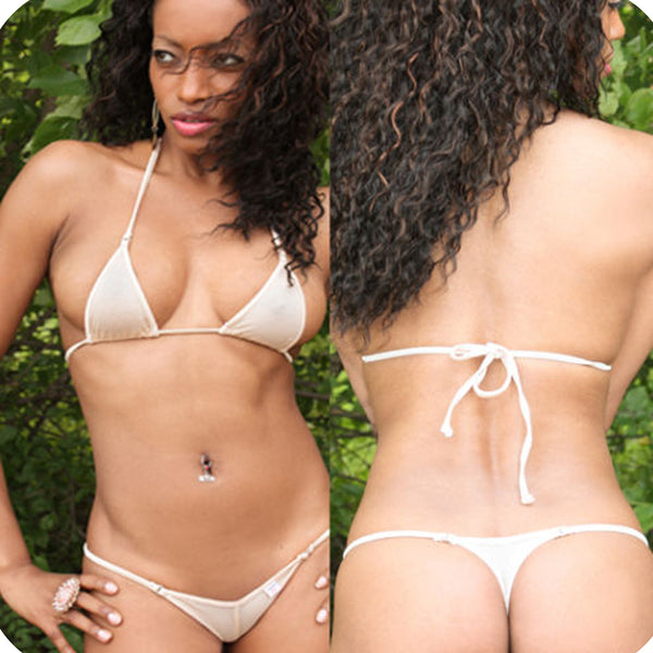 Xposed Skinz Bikinis x105 Sexy Sheer Mesh Thong Triangle Back - Cream