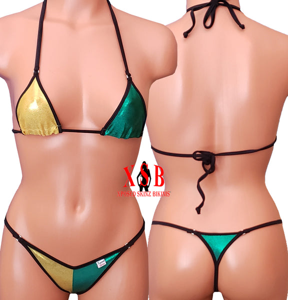 Xposed Skinz Bikinis x105 Gold Green Triangle Back G-string Jamaica Bikini