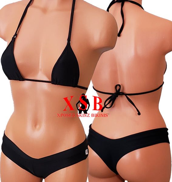 Xposed Skinz Bikinis x110 Surf Shorts Micro Thong Bottom - Black