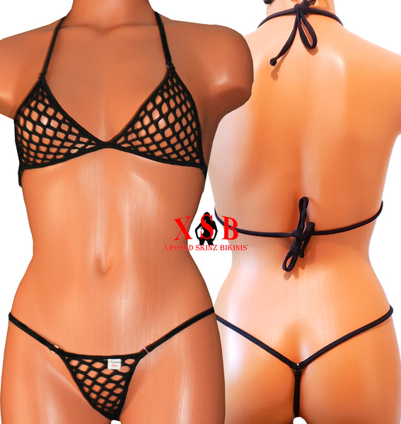 Xposed Skinz Bikinis x120 Diamond Mesh Micro Bikini String Lime - Black