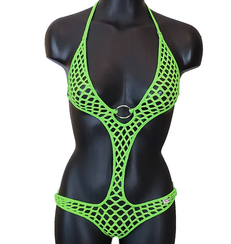 Xposed Skinz Bikinis Sexy x155 Diamond Mesh Monokini One Piece - Lime Green
