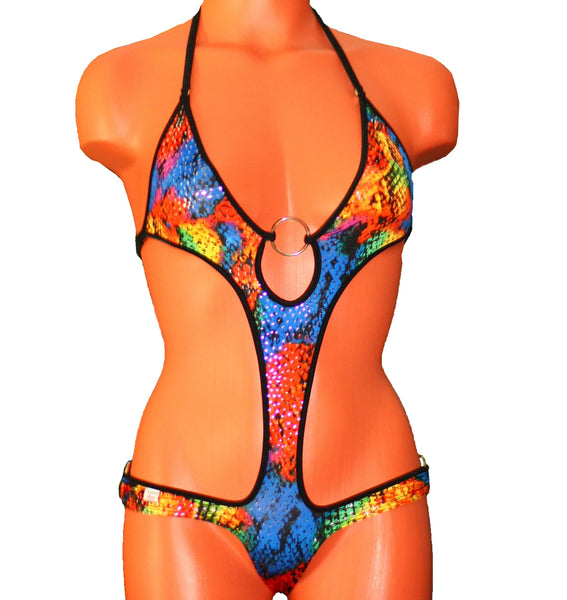 Xposed Skinz Bikinis Sexy x155 Floral Sequin One Piece Solid O-Ring Thong