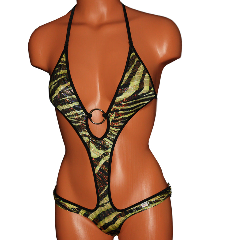 Xposed Skinz Bikinis Sexy x155 Zebra Gold Monokini One Piece Thong - Brown Gold