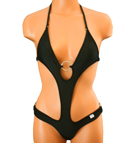 Xposed Skinz Bikinis Sexy x155 Monokini One Piece Solid - Black