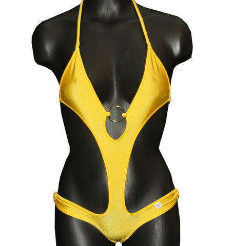 Xposed Skinz Bikinis Sexy x155 Monokini One Piece Solid - Yellow