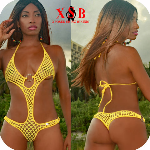 Xposed Skinz Bikinis Sexy x155 Diamond Mesh Monokini One Piece Solid O-Ring Thong, Monokini- Xposed Skinz Bikinis
