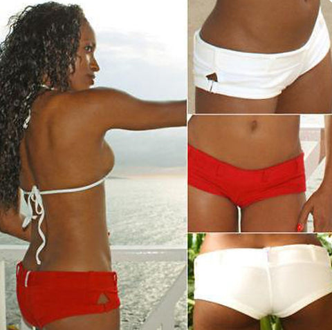Xposed Skinz Bikinis x755 Pier Cheeky Beach Shorts Bottoms Cover-Up Red Natural, Swimwear- Xposed Skinz Bikinis