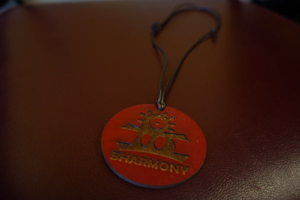 Wooden Medallion BHarmony Logo (Red)