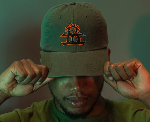 BHarmony Logo Dad Cap Military Green, Black and Orange