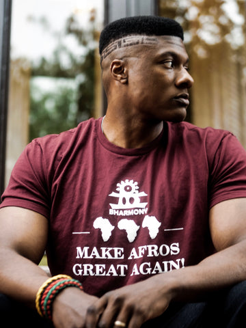 Make Afros Great Again T Shirt Burgundy and White (Gods) [Unisex]