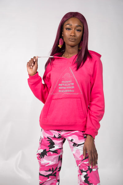 Retaliate With Your Success!!! - Hoodie Basic Strings (Pink And Grey) (Godesses)