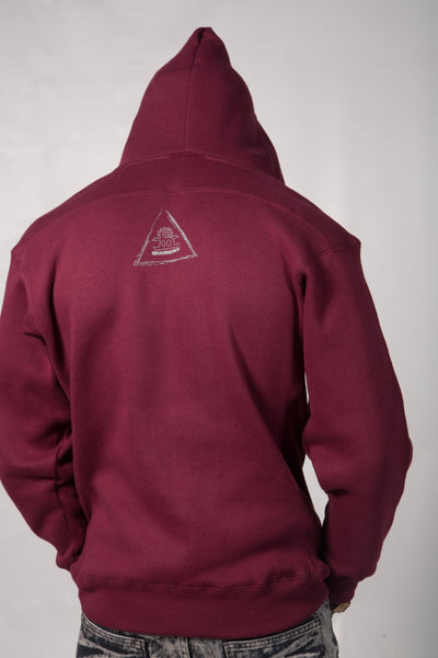Retaliate With Your Success!!! - Hoodie Cross Stringed (Burgundy And Grey) (Gods)