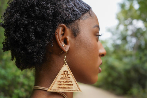 Retaliate With Your Success!!! (Wooden Earrings)