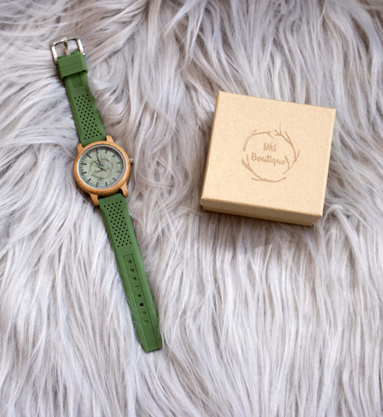 Kākāriki Watch - Uki Boutique - fashion, nature, environment, photography, charity, wooden, accessories, polarised sunnies, sunglasses, galaxy, forest, flowers, clothes