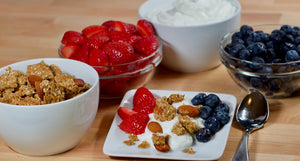 Big Sky All Natural Granola and Greek Yogurt! Add fresh fruit for a delicious healthy breakfast.