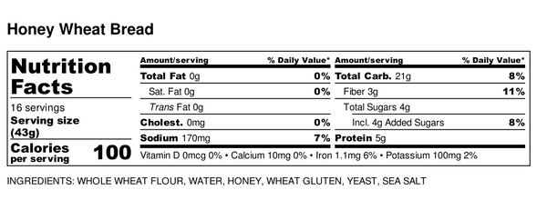 Big Sky Bread Company Honey Wheat Nutritional Information