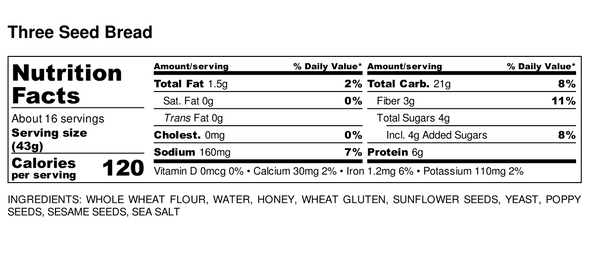 Big Sky Bread Company Three Seed Nutritional Information
