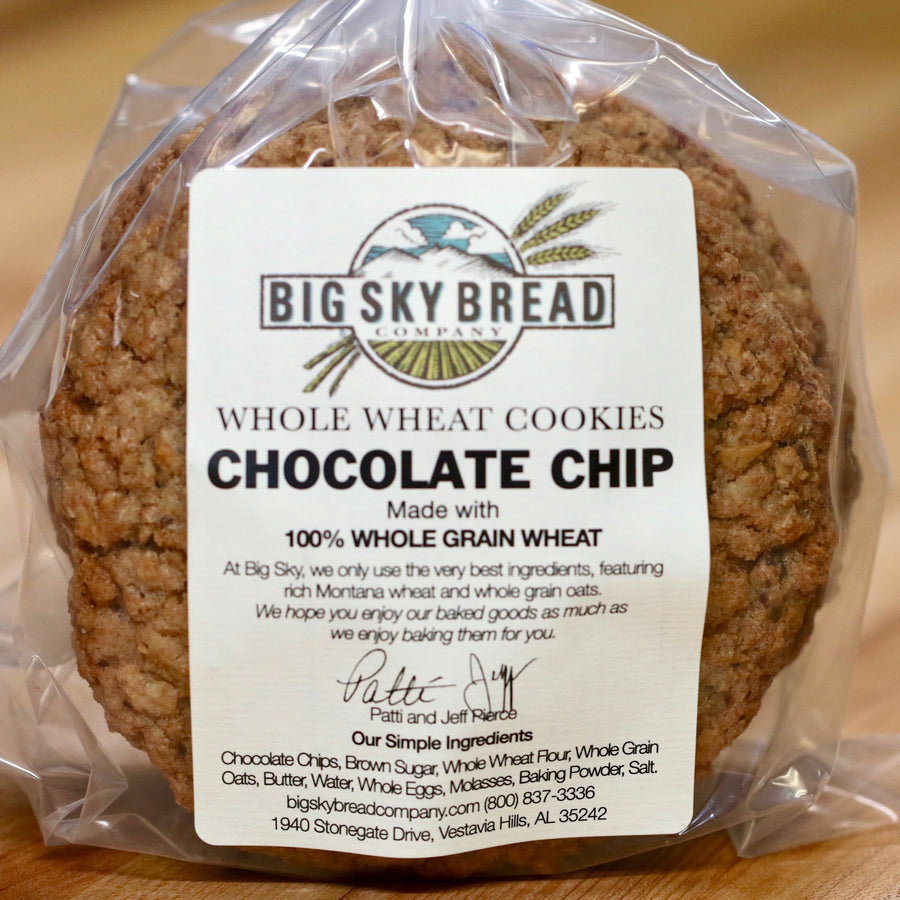 Soon to be world famous! Our whole wheat cookies are made with the best ingredients available, whole grain oats, Montana wheat flour, pure cream butter, molasses, and loaded with chocolate chips. Our best selling cookie! Big Sky Bread Company Whole Wheat Cookies