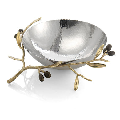 Olive Branch Gold Steel Bowl