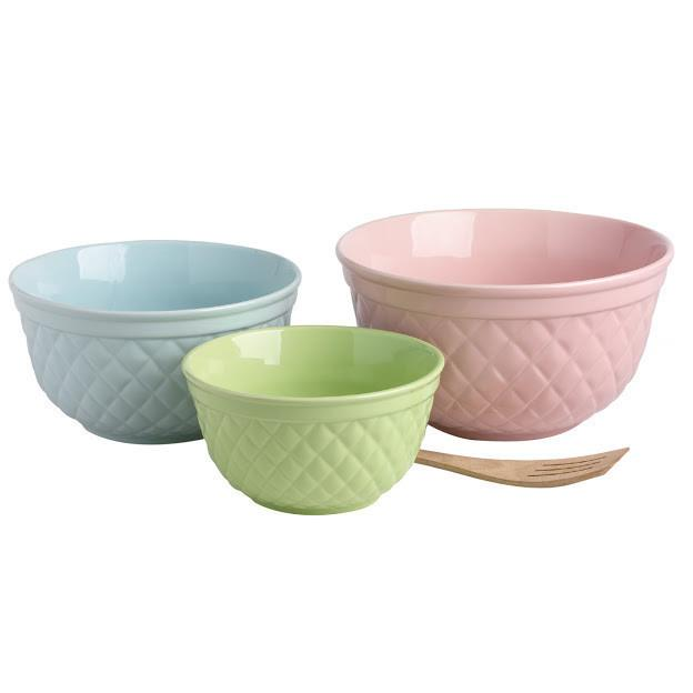 Quilted Pastels Mixing Bowls - Set of 3