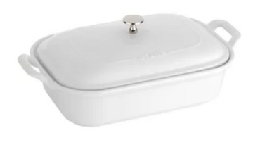White Ceramic Rectangle Covered Baker