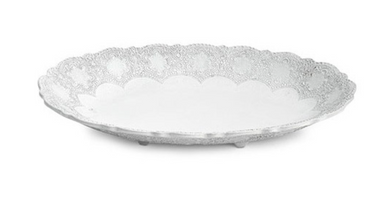 Merletto White Oval Footed Bowl