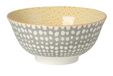 Grey and Yellow Stamped Bowl 6