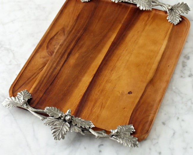 Acorn & Oak Leaf Wood Tray