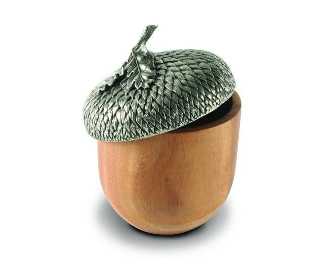 Pewter Top Wood Acorn Box