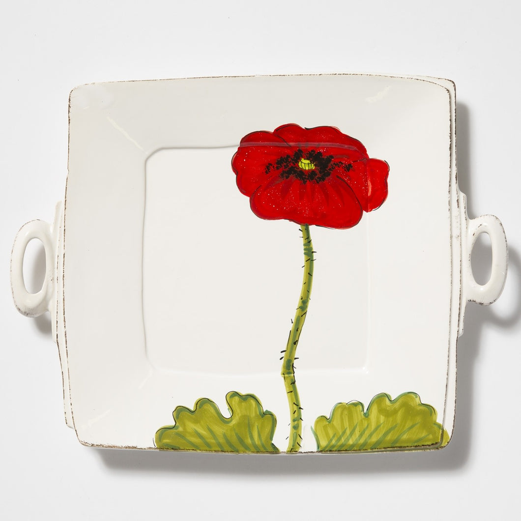 Lastra Poppy Handled Square Platter