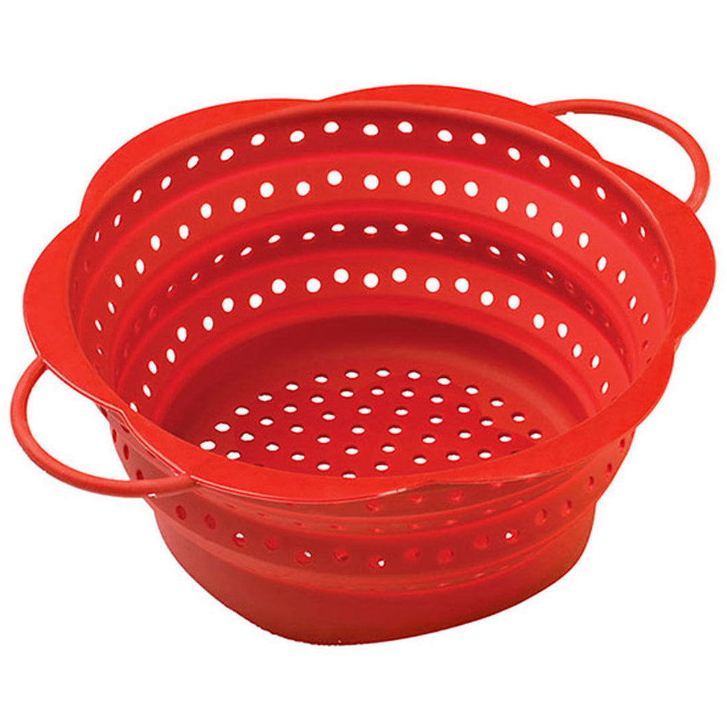 Silicone Collapsible Colander Red
