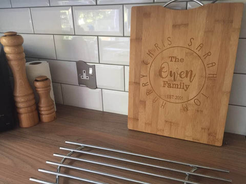Chopping board- Engraved Bamboo Chopping Board - Fred And Bo