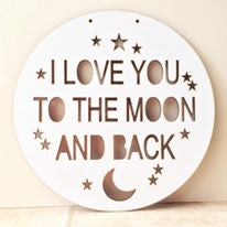 To the moon and back circle hanging plaque - Fred And Bo
