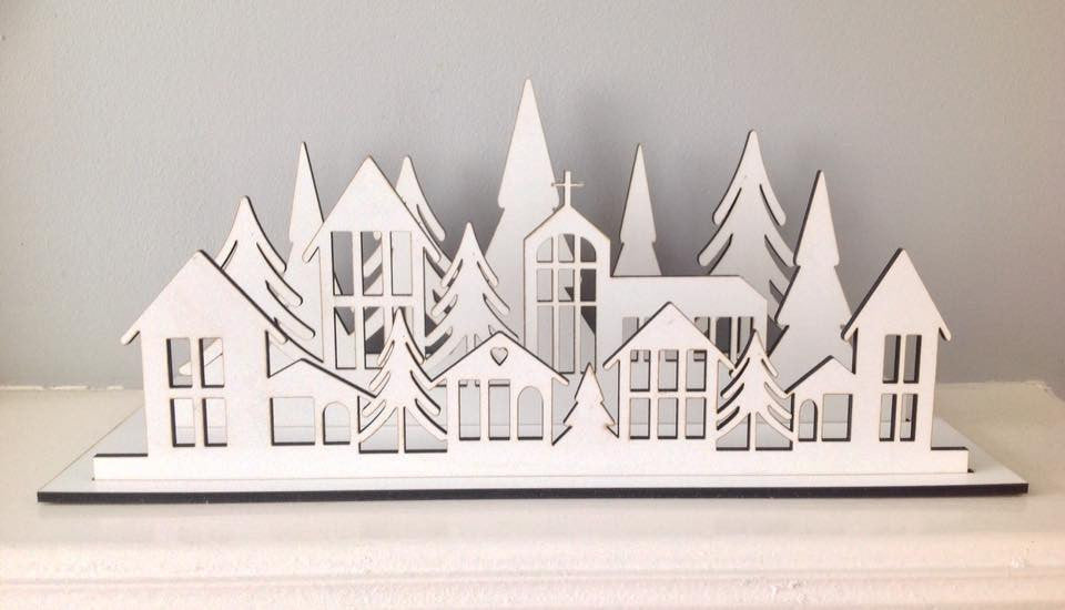 Winter Village christmas scene laser cut - Fred And Bo