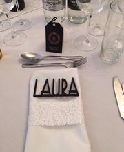Wedding name place settings- laser cut names set of 10 Gatsby font - Fred And Bo