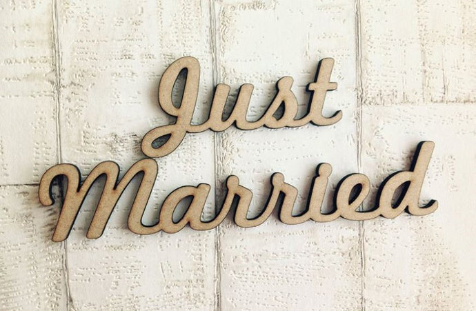 Just Married wooden word craft blank - Fred And Bo