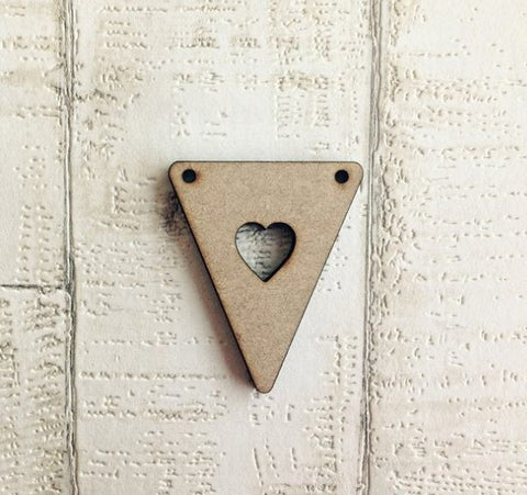 Bunting- Heart cut out - laser cut wood - Fred And Bo