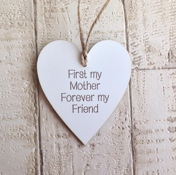 Heart- hanging heart- first my mother forever my friend -  Laser engraved - Fred And Bo