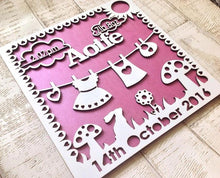 Baby Girl Laser Cut personalised plaque - Fred And Bo
